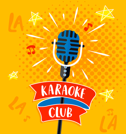Karaoke club symbol, logo or emblem with lettering. Raster copy.