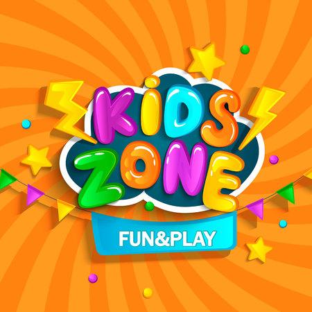 Banner para zona infantil en estilo de dibujos animados. Lugar para divertirse y jugar. Copia rasterizada. Foto de archivo