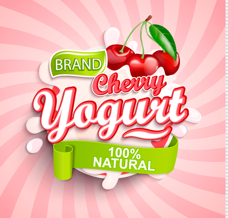 Fresh and Natural Cherry Yogurt label splash on sunburst background for your brand, logo, template, label, emblem for groceries, agriculture stores, packaging and advertising. Vector illustration. Ilustrace