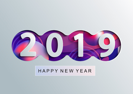 2019 Creative happy new year card in paper style for your seasonal holidays flyers, greetings and invitations cards and christmas themed congratulations and banners. Raster copy illustration.