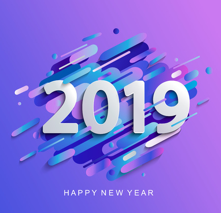 Creative happy new year 2019 card on modern gradient dynamic background. Perfect for presentations, flyers and banners, leaflets, postcards and posters. Raster copy illustration.