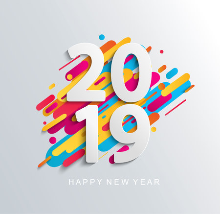 Creative happy new year 2019 banner on modern background for your seasonal flyers, greetings card and christmas themed invitations. Raster copy illustration. Stock Photo