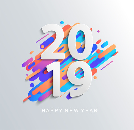 Creative new year 2019 design card on modern motion backgroun. Perfect for presentations, flyers and banners, leaflets, postcards and posters. Raster copy illustration. Stock Photo