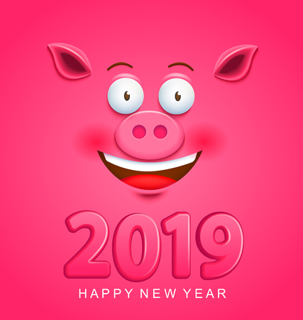 Cute greeting card for 2019 new year with smiling pigs face on pink background. Chinese symbol of the 2019 year. Zodiac and lunar sign of goroscope. Raster copy illustration. Banco de Imagens