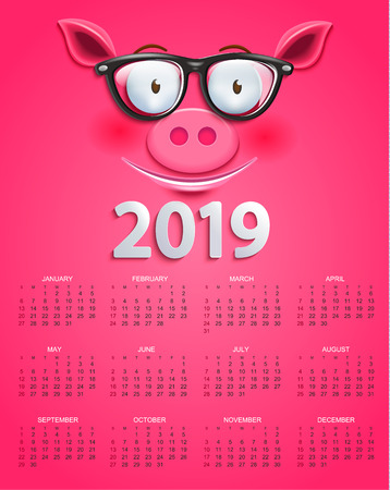 Cute calendar for 2019 year with smiling clever pigs face in glasses on pink background. Holiday event planner. Week Starts Sunday. Raster copy illustration.