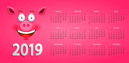 Cute calendar for 2019 year with smiling pigs face on pink background. Holiday event planner. Week Starts Sunday. Raster copy illustration. Stock Photo