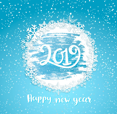 2019 Happy New Year greeting card with vintage frame from snowflakes on frosty window. Greeting new year with wishing happy holidays, hand drawn lettering. Raster copy illustration.