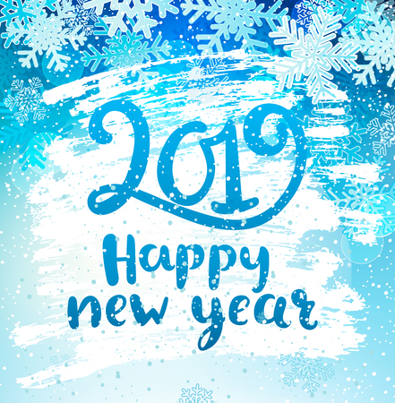 Happy 2019 New Year holidays geeting card with snowflakes on iced and frosted window. Wishing happy holidays holidays, hand drawn lettering. Raster copy illustration.