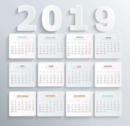 Simple calendar for 2019 year. Holiday event planner. Week Starts Sunday. Raster copy illustration. Stok Fotoğraf