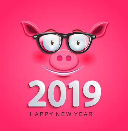 Cute greeting card for 2019 new year with smiling clever pigs face in glasses on pink background.Chinese symbol of the 2019 year. Zodiac,lunar sign of goroscope. Raster copy illustration