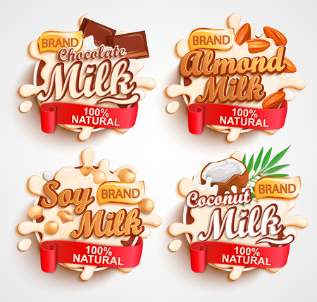 Almond, chocolate, soy, coconut milk labels with milky splash. 100 percent natural, organic and fresh healthy drink.Perfect for your advertising and packaging cosmetics or dairy products.Vector.