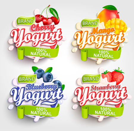 Mango, cherry, strawberry and blueberry Yogurt label with splash, Fresh and Natural,for your brand, template,label,emblem for groceries, stores and packaging, advertising.Vector illustration.