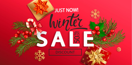 Winter sale banner for Christmas and New Year holidays.50 percent discount card on red background with traditional christmas elements-gift box with gold bow,candy cane, branch.Vector illustration. Illustration