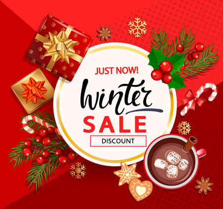 Christmas and New Year winter sale card for holidays. Discount template on red background with traditional christmas elements-gift box with gold bow,candy,branch,cocoa,marshmallow.Vector illustration.