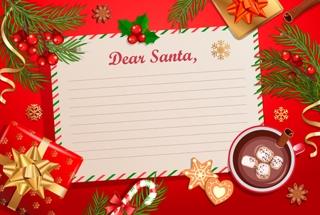 Christmas template for Letter to Santa Claus with traditional decorations-gift box with bow,candy cane,cocoa with marshmallows,spruce branch and gingerbread.Wish List for kids for the holidays.Vector. Foto de archivo - 112084157