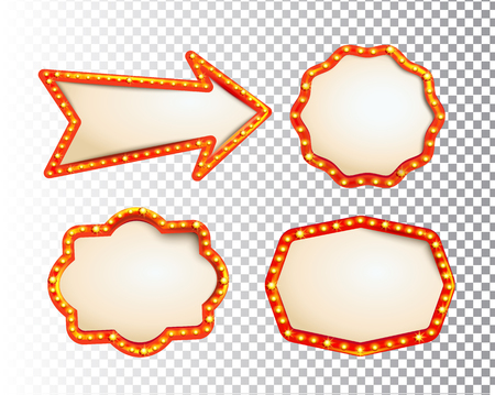 Shining isolated retroset bulb light frames and arrow on transparent background. Vintage style banner, sign, signboard. Perfect template for shows, casino, cinema, circus. Vector illustration EPS 10