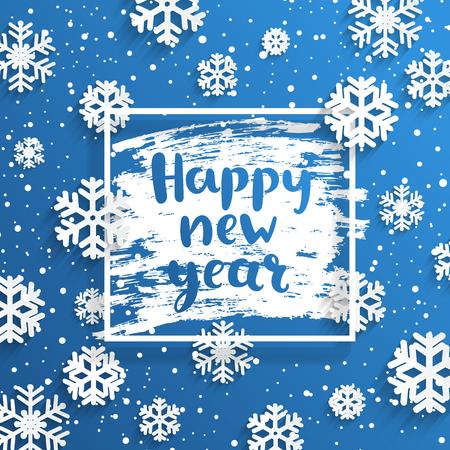Frohes neues Jahr-Grußkarte mit quadratischem Rahmen und Schneeflocken auf frostigem Fenster. Frohe Feiertage wünschen, handgezeichnete Schrift. Vektor-Illustration.