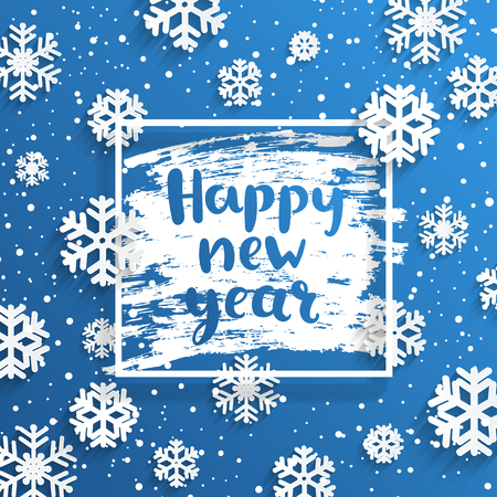 Happy New Year greeting card with square frame and snowflakes on frosty window.Wishing happy holidays, hand drawn lettering. Vector illustration.