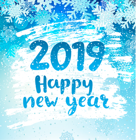 Happy 2019 New Year holidays geeting card with snowflakes on iced and frosted window. Wishing happy holidays holidays, hand drawn lettering. Vector illustration, perfect for use in web design, print.