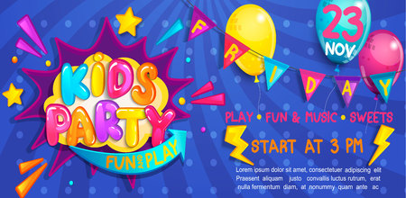 Wide cute kids party Banner in cartoon style with balloons, flags and boom frame.Birthday party, Place for fun and play, kids game room. Poster for childrens playroom decoration.Vector illustration.