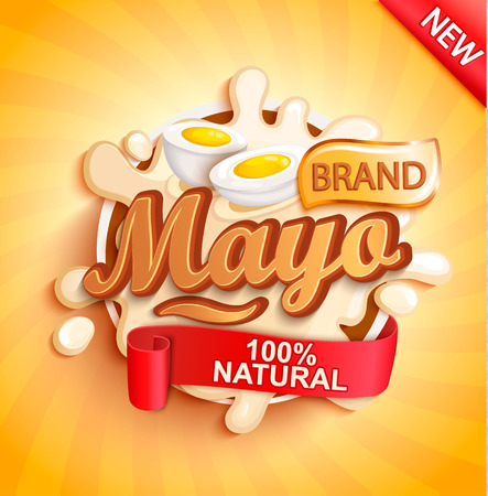 Mayonnaise label splash on gold sunburst background, natural and fresh for your brand, logo, template, label. Mayo emblem for groceries, stores, packaging and advertising. Vector illustration.