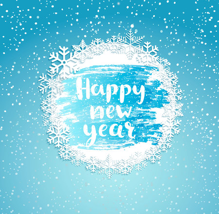 Happy New Year greeting card with vintage frame from snowflakes on frosty window. Greeting new year with wishing happy holidays, hand drawn lettering. Vector illustration.