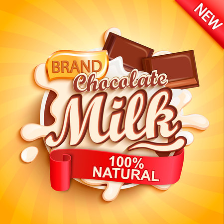 Chocolate milk label splash on gold sunburst background. Milky splashing with drops from falling pieces of delicious chocolate. Vector illustration for your design, packaging and advertising.