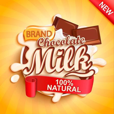 Spruzzata dell'etichetta del latte al cioccolato su sfondo oro sunburst. Spruzzi lattiginosi con gocce di pezzi di delizioso cioccolato che cadono. Illustrazione vettoriale per il tuo design, packaging e pubblicità.