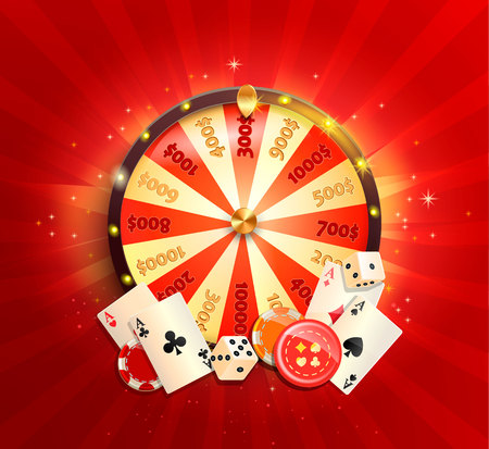 Flyer for casino online with poker cards, playing dice, chips, fortune wheel and other gambling design elements. Banner or poster template on shiny red background. Vector illustration.