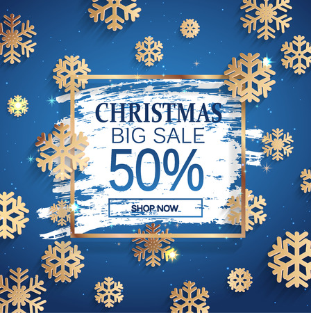 Christmas big sale gold banner with square frame and snowflakes on frosty window. 50 percent Discount card for web, poster, flyers, ad, promotions, blogs, social media, marketing. Vector illustration.