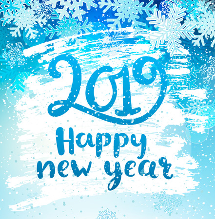 Happy 2019 New Year holidays geeting card with snowflakes on iced and frosted window. Wishing happy holidays holidays, hand drawn lettering. Vector illustration. Illustration