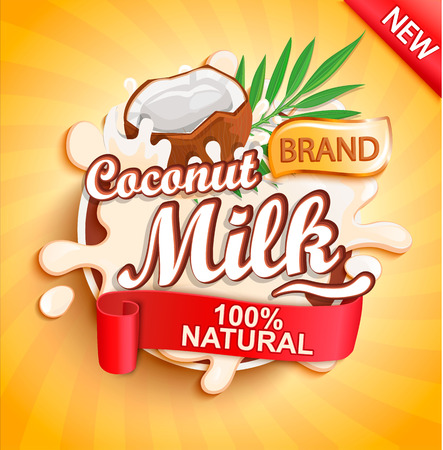 Coconut milk label splash on gold sunburst background. 100 percent natural, organic and fresh healthy drink. Perfect for your advertising and packaging cosmetics or dairy products. Vector illustration