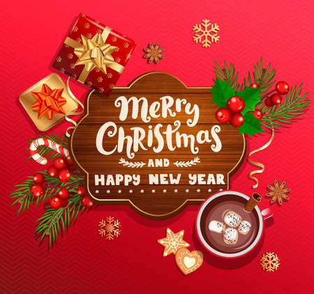 Merry Christmas and New Year wishing card on wood frame,red background with traditional christmas decorations-gift box with gold bow,candy cane,branch,snowflakes,cocoa, marshmallow.Vector illustration 일러스트