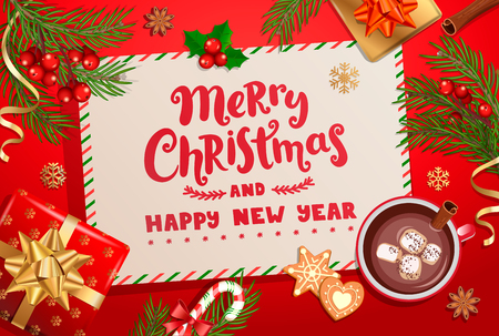 Merry Christmas and Happy New Year wishing letter on red background with traditional christmas decorations-gift box with gold bow,candy cane,branch,snowflakes,cocoa and marshmallow.Vector illustration