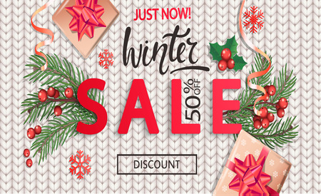 Winter sale knitted banner for Christmas and New Year holidays.50 percent discount card on white background with traditional christmas elements-gift box with gold bow,candy cane, branch.Vector. Stock Photo