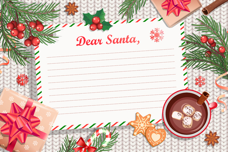 Template of Christmas Letter to Santa Claus. with traditional decorations-gift box with bow,candy cane,cocoa with marshmallows,spruce branch and gingerbread.Wish List for kids for the holidays.Vector. Vecteurs