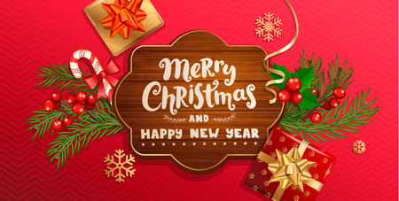 Merry Christmas and New Year wishing banner in wooden frame on red background with traditional christmas decorations-gift box with gold bow,candy cane,branch,snowflakes.Vector illustration Illustration