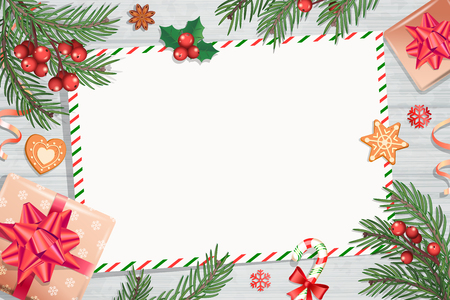 Template of Christmas Letters and wishes on wooden background with traditional decorations-gift box with bow,candy cane,spruce branch and gingerbread.Wish List for kids for the holidays.Vector. Foto de archivo - 113574807