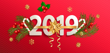2019 New year banner with gold bow on red background with traditional elements-candy cane,Christmas tree branches, snowflakes, mistletoe.Perfect for flyers,cards,posters.Vector illustration. Illustration
