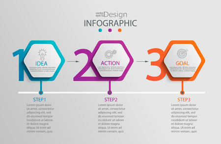 Paper infographic template with 3 hexagon options for presentation and data visualization.Business process chart.Diagram with three steps to success.For content,flowchart,workflow.Vector illustration Illustration