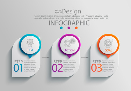 Paper infographic template with 3 options for presentation and data visualization. Business process chart.Diagram with three steps to success.For content, flowchart, workflow.Vector illustration Illustration