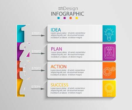 Paper infographic template with 4 options for presentation and data visualization. Business process chart. Diagram with four steps to success. For content, flowchart, workflow. Vector illustration.
