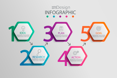 Paper infographic template with 5 hexagon options for presentation and data visualization.Business process chart.Diagram with five steps to success.For content,flowchart,workflow.Vector illustration