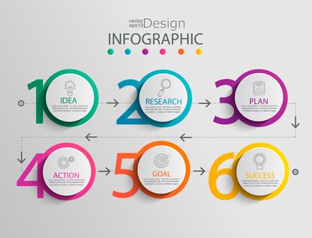 Papieren infographic sjabloon met 6 cirkelopties voor presentatie en datavisualisatie. Bedrijfsprocesgrafiek. Diagram met zes stappen naar succes. Voor inhoud, stroomdiagram, workflow. Vectorillustratie