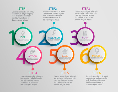 Paper infographic template with 6 circle options for presentation, data visualization. Business process chart.Diagram with six steps to success.For content,flowchart, workflow.Vector illustration 일러스트