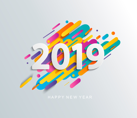 Creative happy new year 2019 card on modern dynamic background. Perfect for presentations, flyers and banners, leaflets, postcards and posters. Vector illustration