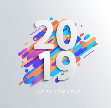 Creative new year 2019 design card on modern motion backgroun. Perfect for presentations, flyers and banners, leaflets, postcards and posters. Vector illustration