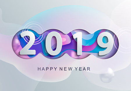 2019 creative happy new year card in paper style for your seasonal holidays flyers greetings