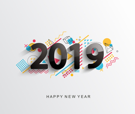 Modern creative new 2019 year design card with geometric shapes on background for your seasonal holidays flyers, greetings and invitations cards and christmas themed congratulations and banners.Vector