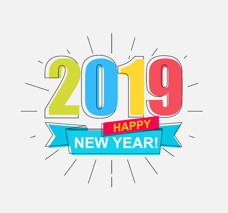 2019 Happy New Year. Colorful outline banner for new year holidays. Perfect for presentations, flyers and banners, leaflets, postcards and posters. Vector illustration